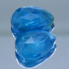 2 Neon Blue Apatite - 6.26 ct  - No Reserve Price