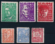 Mecklenburg-Vorpommern - 1945 - 'Victims of the fascism' and 'Children's aid', Michel 20 -22 and 26-28
