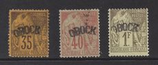 France Colonie Obock 1892 - Issue from 1881 with overprint - Yvert 8, 9 and 11