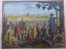 "Hand-coloured engraving from ""Historische Kronyck"" - Sermons preached outside Antwerp - 1698"