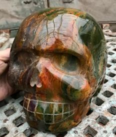 Extra large sculpted, polish Jasper skull with many colours - 21.5 x 16.5 x 16.5 cm - 10 kg