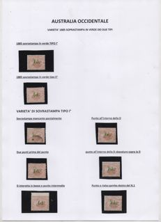 Western Australia - Stanley Gibbons collection, nos. 91 and 92 with varieties in overprint
