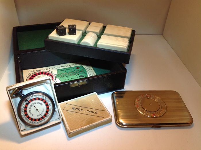 "Pocket Roulette Game ""Monte Carlo at Home"" with a Chips Case and a Vintage Roulette Wheel Cigarette Case - America - ca. 1910"