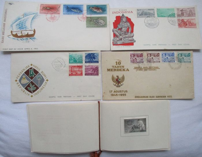 Indonesia 1945/1996 - 5 first day envelopes and 7 envelopes.