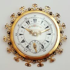 Antique Pocket Watch  Brooch With Diamonds, 18 Ct Yellow Gold,Diameter 60mm, Total Weight 25.39g