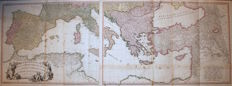 Europe, Wall map of Mediterranean Sea; W. Faden - A map of the Mediterranean Sea with the adjacent regions and seas - 2 maps - 1785
