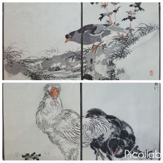 "Two original woodblock diptychs by Kono Bairei (1844-1895) - From the series ""Bairei's One Hundred Birds Album"", vol. 2 - Japan - 1881"