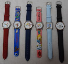 Unique collection of 6 Asterix & Obelix, Idefix, Bellefleur wristwatches Goscinny - Uderzo