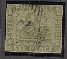 Western Australia 1860 - green-grey-yellow six pence, Stanley Gibbons 28a, signed, four white margins