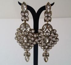 Oscar de la Renta Swarovsky Clear Crystal Dangle Earrings
