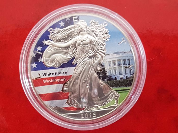 United States - dollar 2015 'American Eagle'- White house' coloured - 1 oz silver