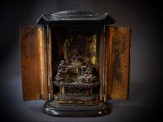 Japanese travel altar with Fudo Myo-o, deity of fortune - Japan - 18th century (mid Edo)