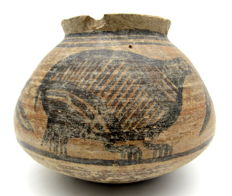 Indus Valley Painted Terracotta Jar with Birds Motif - 117x87mm
