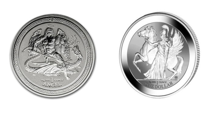 Great Britain - 1 oz Angel, Isle of Man, 2015 - Archangel / Dragon Slayer - Reserve Proof + 1 oz British Virgin - $1 - Pegasus, Goddess Athena Reserve Proof