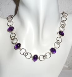 Necklace 925 silver, handmade, with 32.5 ct amethyst 43.5 cm long - no reserve price