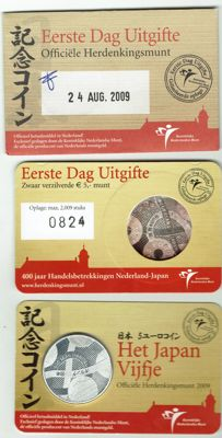 The Netherlands - 5 Euro 2009 'The Japan Fiver' 1st day issue in coin card