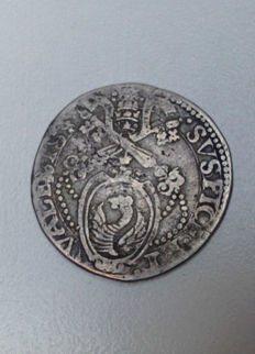 Papal States – Testone, Pope Gregory XIII, without date, Ancona mint – Silver
