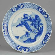 Large & Very Rare Porcelain Plate Fisherman Marked Jiajing - China - Ca 1690 Kangxi period