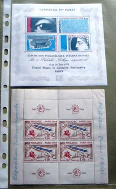 France – Collection of blocks and sheets, commemoratives and Stamp Day booklets