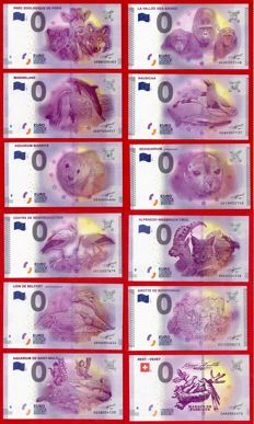 France - Special collector's collection of 12 banknotes of €0, Euro Souvenir Animals + Deluxe album - Years 2015-2017