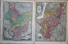 Germany, Lower Saxony, Hanover, Rhineland ;Palatinate; Seutter / Lotter - 2 copper engravings - 1744