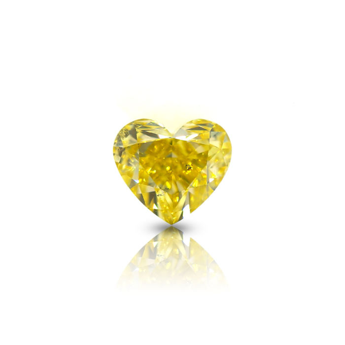 1.01 Ct. Natural Fancy Vivid Yellow SI1 Heart Modified Brilliant shape Diamond, GIA certified