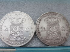 The Netherlands - 2½ guilder 1864a and 1867 Willem III - silver