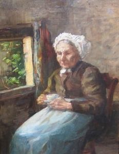 Gerke Henkes (1844-1927) - Old woman drinking a cup of coffee
