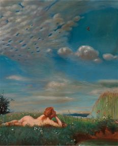 Unknown Artist (20th century) - Nude Lady in A landscape