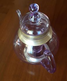 Glass teapot with infuser, decorated in 800/1000 silver