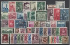 Belgium - OBP numbers 292C to 341, complete sets from 1929 to 1932, with stamps from blocks BL2 and BL3