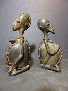 2 fertility statues in bronze and stone - DOGON - Mali