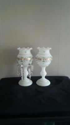 A pair of enamelled opaline glass vases, Bohemia, 19th century