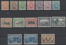 Belgium 1915 - Albert I and various sights 1915 - Full series including 5 FRANCS - OBP nos. 135 through 149