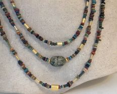 Multi-strand necklace with Egyptian faience-beads and scarab - approx. 56 cm
