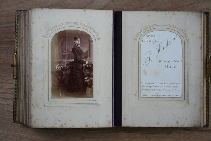English Photo Album 1872 Signed Sarah Woods With 48 Carte De Visite Index Most Names Included