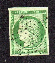 France 1850 – Ceres 15 c green – Yvert no. 2