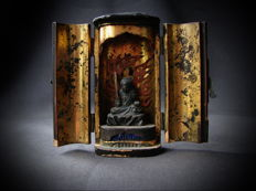 Travel altar with Fudo Myo-o, deity of fortune - Japan - 19th century (Edo period)