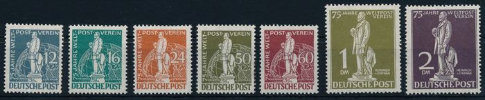 "Germany Berlin - 1949 - "" 75 years of the UPU, so-called Stephan"" 12 Pf. up to 2 Mark, Michel 35-41"