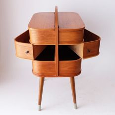 Designer unknown - design sewing box in plywood finished with oak veneer