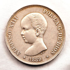Spain - Alfonso XIII - 5 pesetas silver coin - 1889 - Madrid