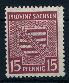 Sachsen - 1945- coat of arms 15 Pfg. with watermark steps falling (x), Michel 80X
