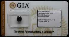 1.37 ct. GIA Certified Natural Fancy Black, Diamond - NO RESERVE