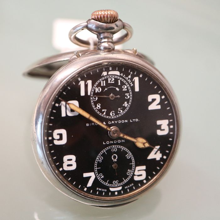Birch & Gaydon London pocket watch alarm (WWI), circa 1915