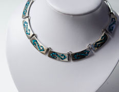 Choker with turquoises - 925 silver, Mexico