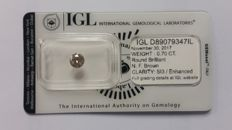0.70ct Diamond  Round cut Fancy Brown SI3 IGL Lab report -no reserve