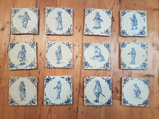 Lot with 12 not restored tiles with people decor