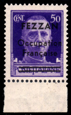 Fezzan 1943 - French occupation, 50 cent. violet, with overprint - Sass. No. 1