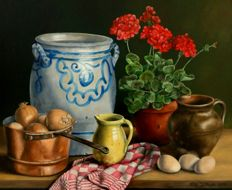 Jan Muijs (1925 - 2015) - Still life with flowers, onions and a Cologne pot