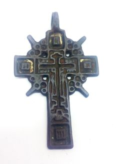 Medieval bronze cross decorated with enamels 45х27 mm